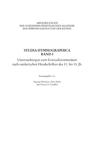 Cover Studia Hymnographica Band I