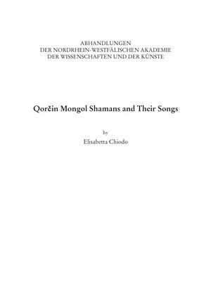 Cover Qorčin Mongol Shamans and Their Songs